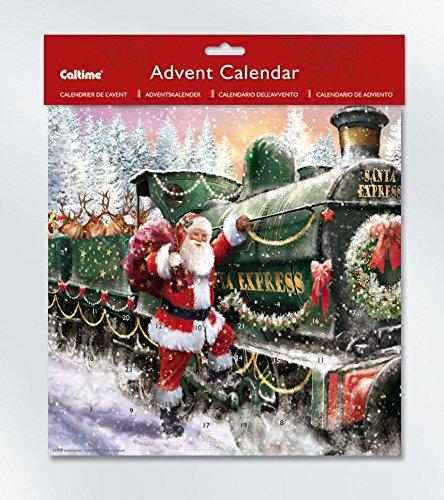 Santa Express Train and Reindeer Advent Calendar - 275 x 275 mm - S1038 010380 Caltime