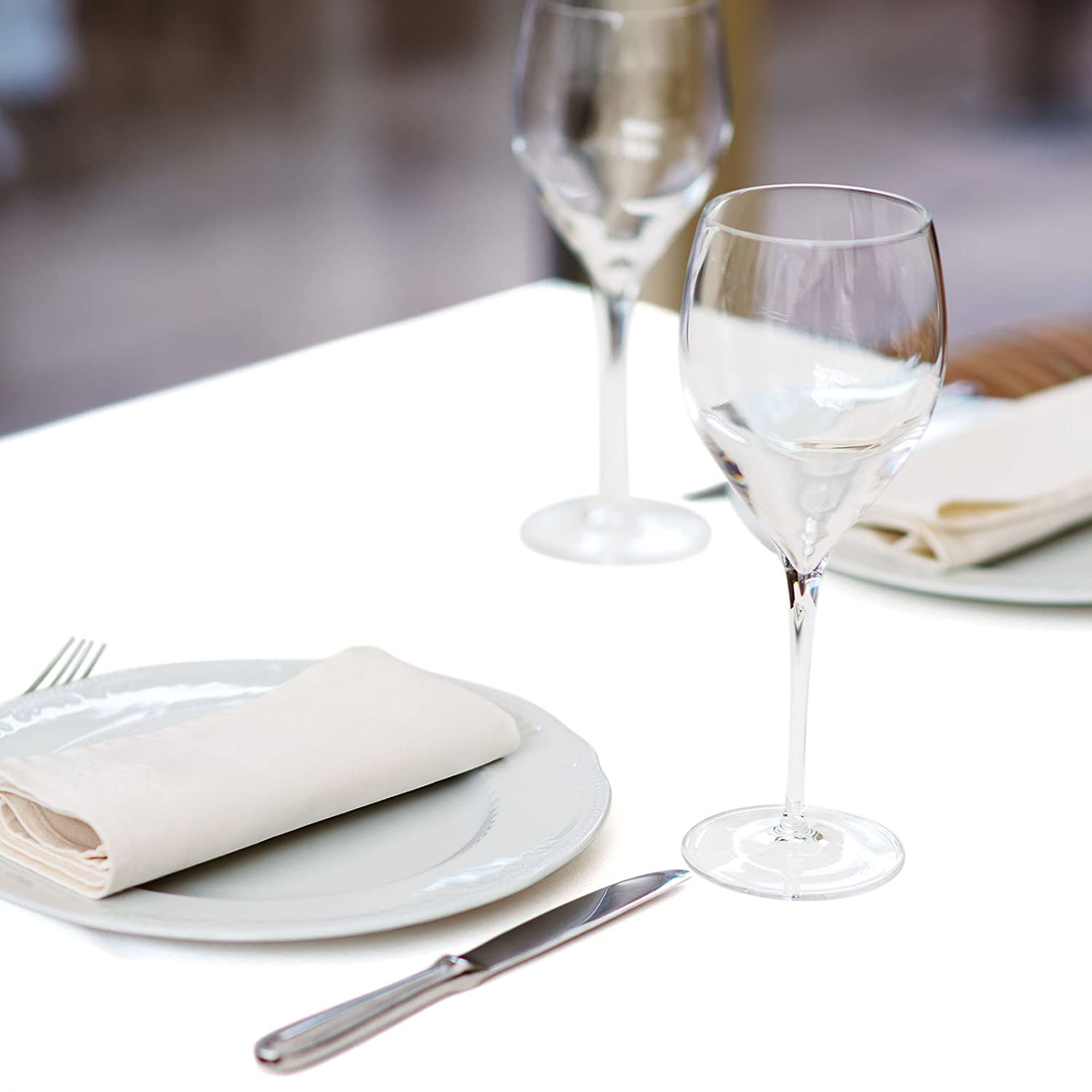 Lanns Linens Polyester Fabric Table Cloth White 54 Square Premium Tablecloth for Wedding//Banquet//Restaurant