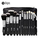 FEIYAN Makeup Brushes Premium Makeup Brush Set Natural Goat Synthetic Cosmetics Kabuki Foundation Blending Blush Face Eyeshadow Eyeliner Concealer Powder Brush Kit with Pouch (15 pcs, Silver Black)