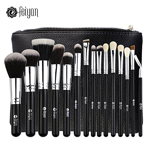FEIYAN Makeup Brushes Premium Makeup Brush Set Natural Goat Synthetic Cosmetics Kabuki Foundation Blending Blush Face Eyeshadow Eyeliner Concealer Powder Brush Kit with Pouch (15 pcs, Silver (Professional Stippling Brush)