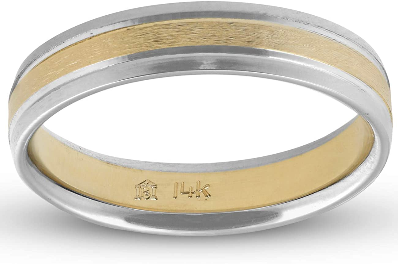 Two tone Gold Wedding Band Matching Gold Rings Engraved Rings One Tone Gold Wedding Band 5mm Polished Gold Wedding Ring for Men /& Women