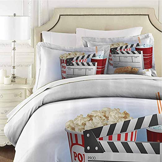 Movie Theater Quilted Bedspread /& Pillow Shams Set Pop Corn Tickets Print
