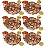 Prisha India Craft Set of 6 Traditional Indian Dinnerware Pure Copper Dinner Set of Thali Plate, Bowl, Spoon, Fork, Glass - Dia 12 Inch - Christmas Gift