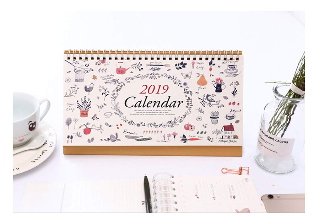 Monthly Desk Calendar 2019, July 2018 - December 2019, 10x6.3 inches, Daily Calendar Planner for School, Office, Home Use