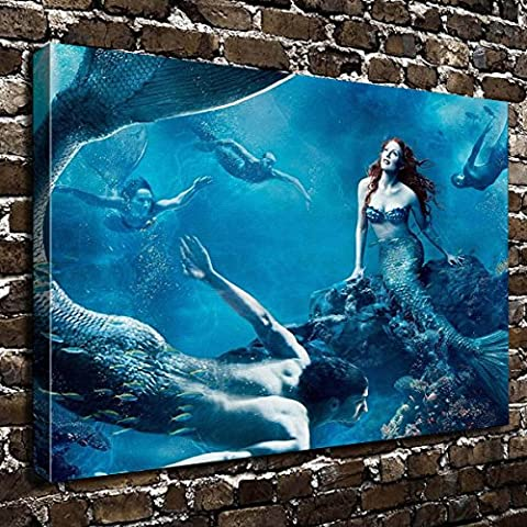 COLORSFORU Wall Art Painting Mermaid Prints On Canvas The Picture Landscape Pictures Oil For Home Modern Decoration Print Decor For Living Room