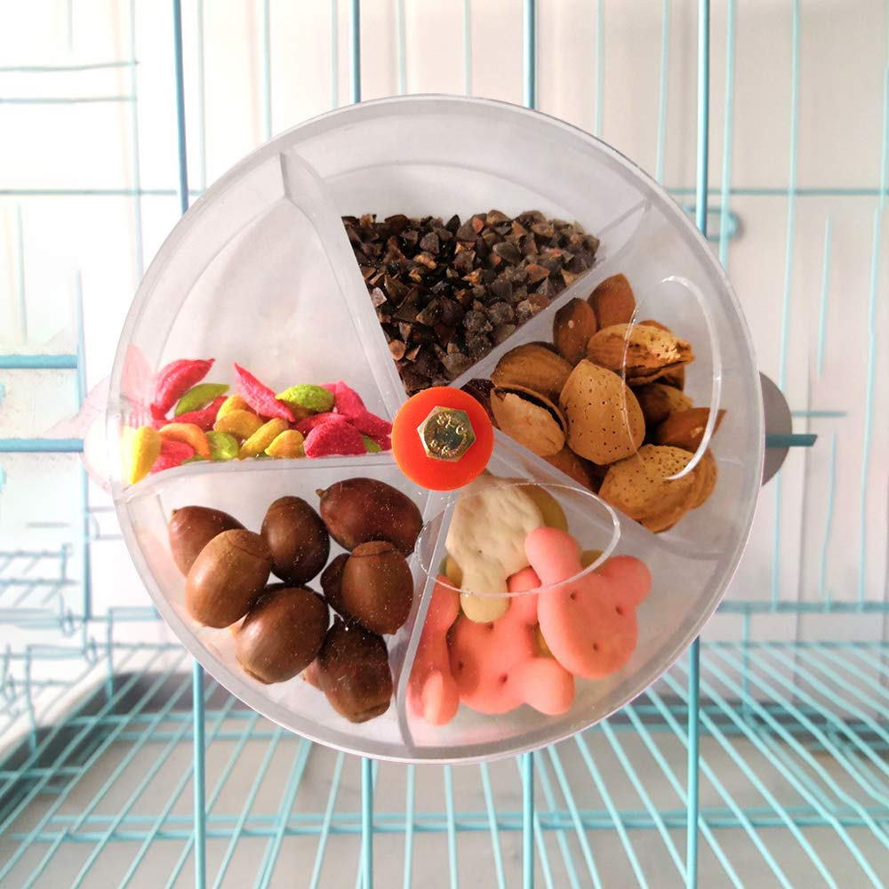 quanjucheer Caja de Alimentos de pl/ástico para Jaula de Loro Juguete Giratorio para p/ájaros