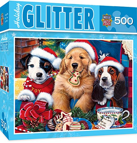 Santa Puppy (MasterPieces Holiday Glitter Santa Paws - Adorable Puppies 500 Piece Jigsaw Puzzle by Jenny Newland)