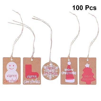 Amazon Com Supvox 100pcs Christmas Paper Tags Favor Tags Gift Tags