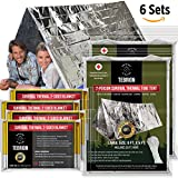 """TEBRION 2 Emergency 2-Adults Mylar Thermal Tents and 4 Large 63"""" x 82"""" Blankets Set - Designed for NASA - Perfect for First Aid Kit, Bug Out Bag, Survival, Hiking, Auto, or Outdoors"""