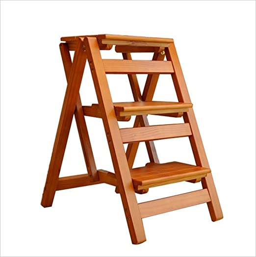 Amazon.com: Household Multi-functional Solid Wood Ladder ...