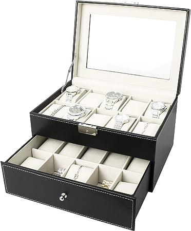 Sotech - Caja de Almacenamiento de Relojes y Pulseras, Caja de Relojes, 20 Relojes con cajón y pantalla, Negro/Beige, Tamaño: 28,5 x 20,5 x 15 cm, Material de la caja: PU: Amazon.es: Hogar