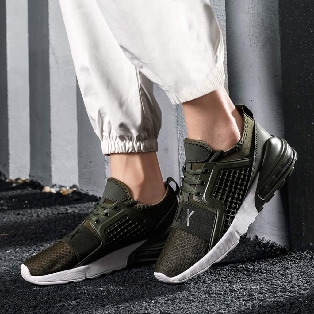 Men's Athletic Sneakers Summer Mesh Breathable Lightweight Shoes Casual Air Cushion Slip On Running Workout Gym Sock Shoe (Green, US:11) by Cealu (Image #5)
