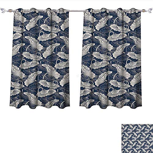 al Insulated Lotus Hand Drawn Leaves and Flowers Eastern Culture Plant Zen Themed Garden Earthy Dark Blue Eggshell Blackout Curtain for Living Room (W55 x L45 -Inch 2 Panels) ()