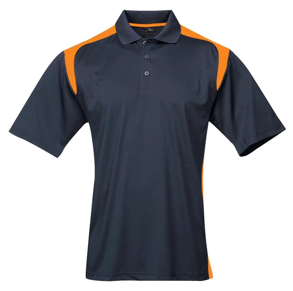 Tri-mountain Mens 100% Polyester UC Knit Polo Shirt. 145TM - NAVY / GOLD_XL
