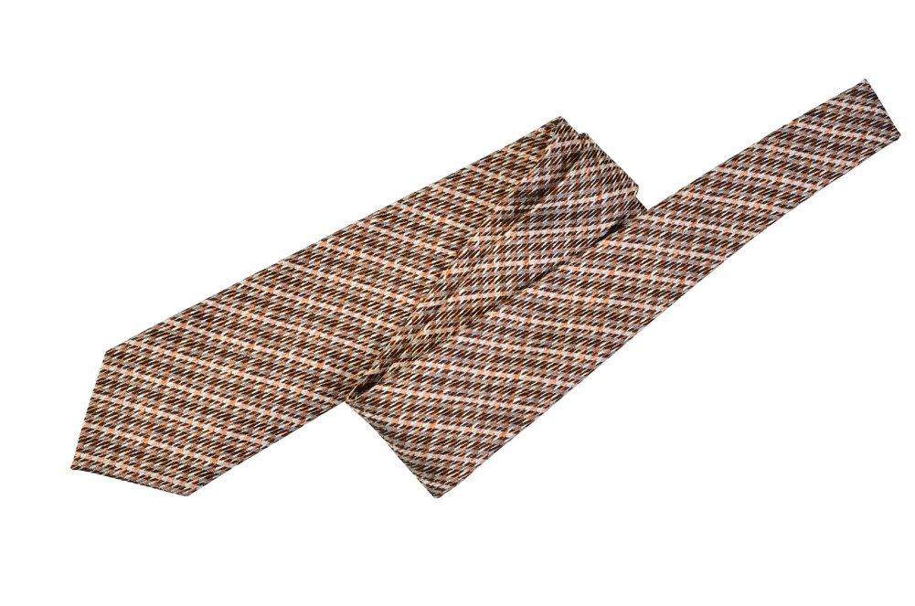 Tom Ford Gray Copper Check Silk Skinny Neck Tie