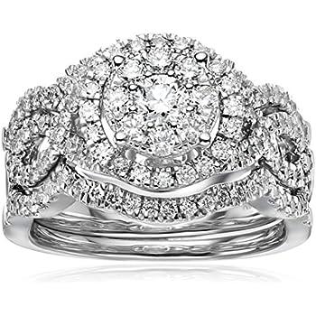 14k White Gold Diamond 3 Piece Wedding Ring Set (1 1/4 Cttw