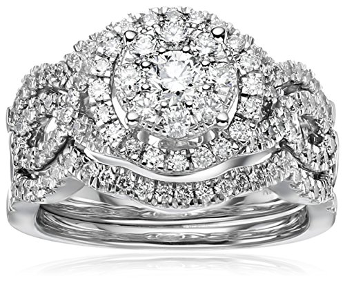 14k White Gold Diamond 3-Piece Wedding Ring Set (1 1/4 cttw, H-I (Pave Wedding Ring Sets)