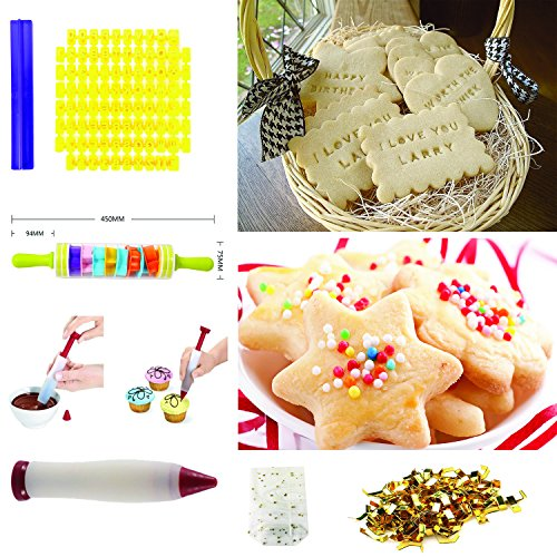 Cookiepro Festive Edition - 231pcs Cookie Biscuit Cutter + Stamp Set With 6pcs Xmas Stampers + decorating icing pen + Rolling pin + Alphabet& Number Stamps + Icing Piping Syringe With Nozzles and more by Terraberk (Image #4)'
