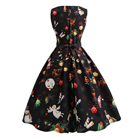 Christmas Print Vintage Dress Women Bandage A-Line Dress Sleeveless Mini Dress Vestidos De Festa
