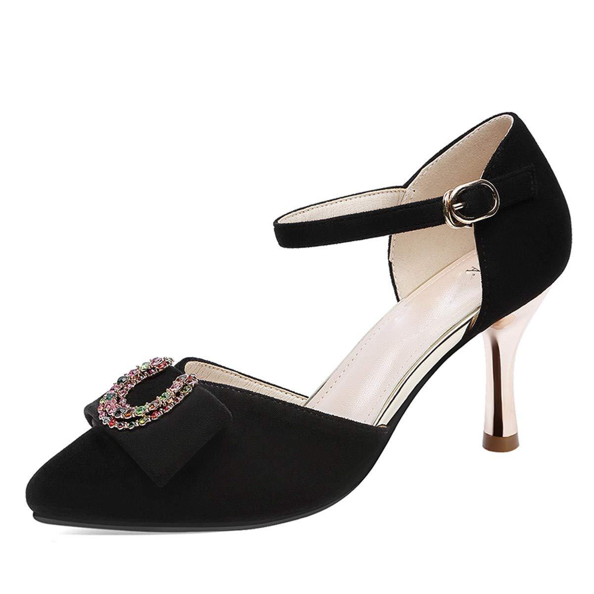 LBTSQ-Baotou Sandaleen Sandaleen 7cm gürtelschnallen Diamond Schuhe mit Hohen absätzen.