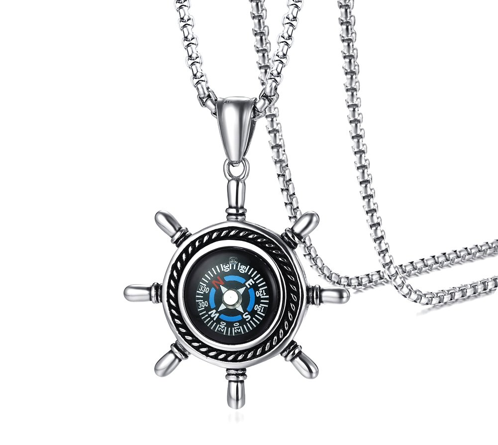 Stainless Steel Rudder Shaped Compass Pendant Necklace for Men, 24''Rolo Chain