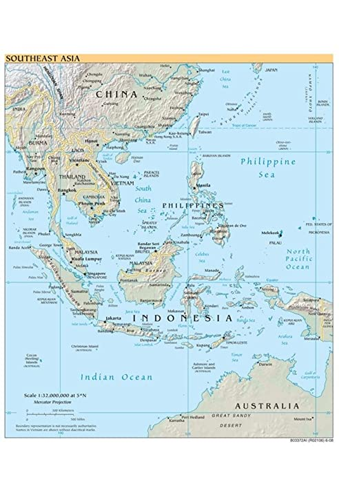 Amazoncom Map of Southeast Asia Political Art Poster Print 13