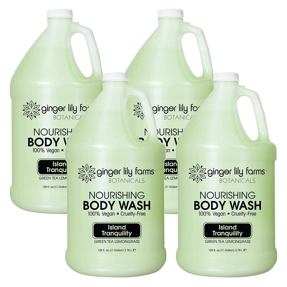 Ginger Lily Farms Botanicals Island Tranquility Nourishing Body Wash, Softens, Nourishes and Cleans Skin, Natural Spa Quality, 100% Vegan and Cruelty-Free, 1 Gallon (Case of 4)