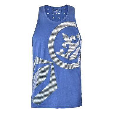 mens vest Crosshatch tank top sleeveless muscle gym beach print casual summer