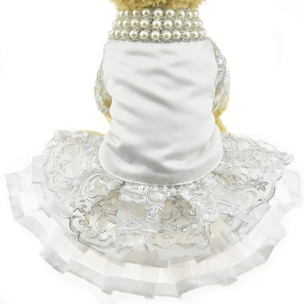 L LLYU Pet Dog Skirt Luxury lace Pearl Dress Wedding Dress Costume (Size   L)