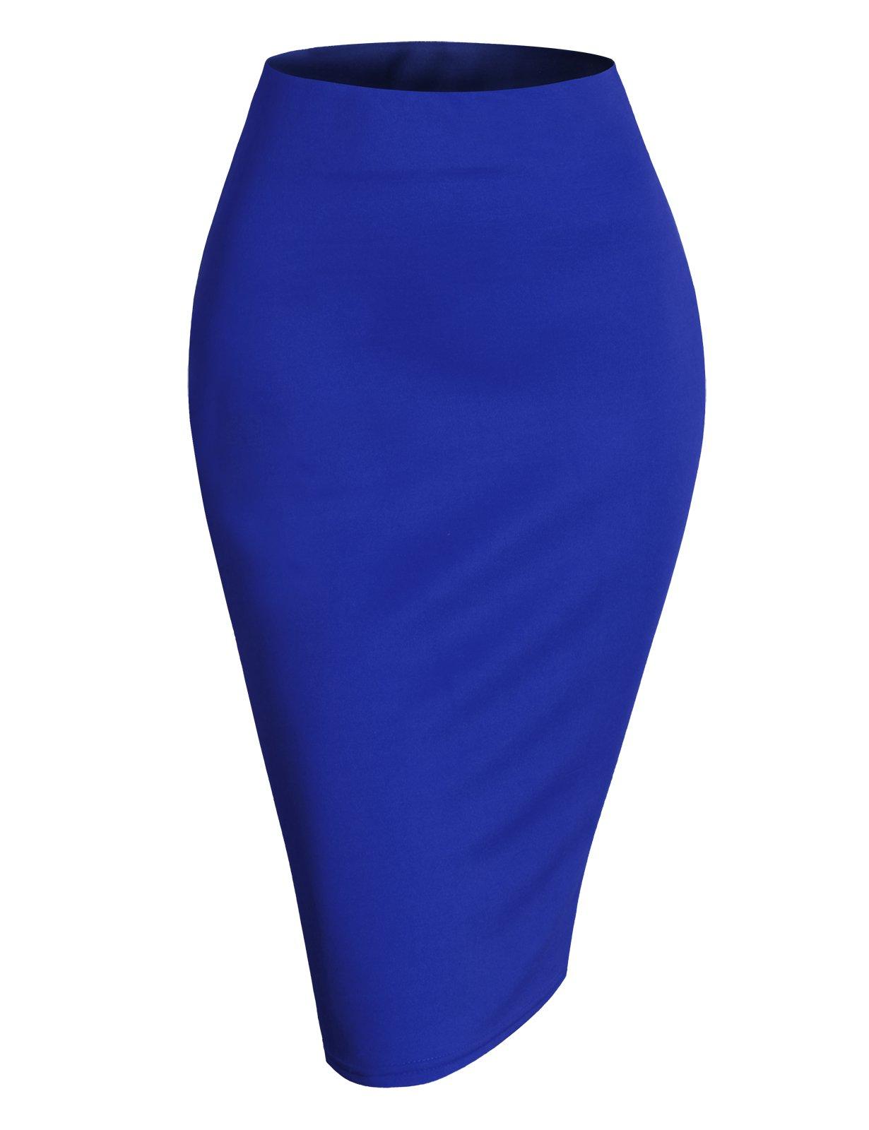 H2H Womens Basic Versatile Elastic Waist Band Office Pencil Skirt RoyalBlue 2XL (AWBMS0188)