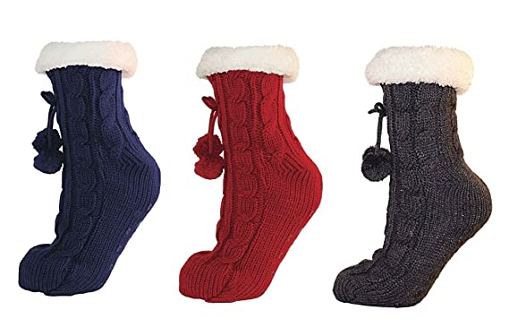 Ladies/Womens Cable Knit Slipper Sock with Grip Bottom sizes 4-8