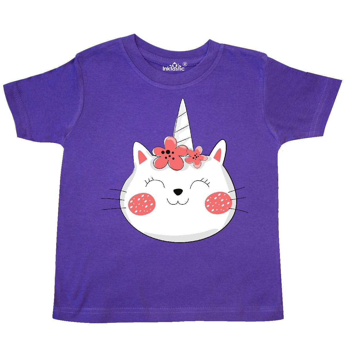 inktastic Unicorn Cat Cat with Flower Wreath Red White Toddler T-Shirt