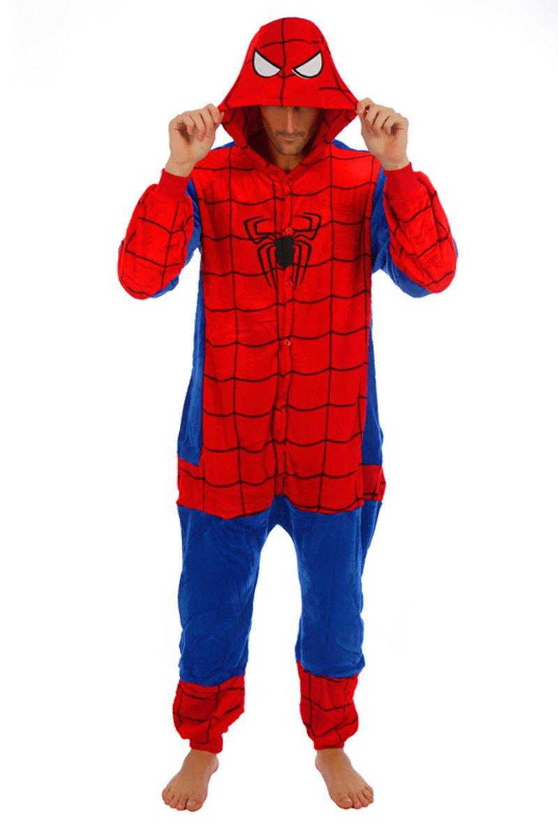 Adulto Unisexo superhéroe Spider Man Batman onesie Fiesta Disfraz de Kigurumi Con Capucha PIJAMA Sudadera Ropa Para Dormir regalo de Navidad (Spider Man, ...