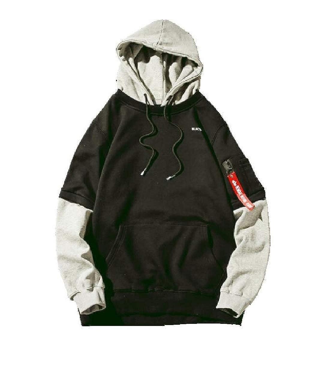 CBTLVSN Mens Fashion Patchwork Slim Fit Round Neck Hoodie Pullover Sweatshirts