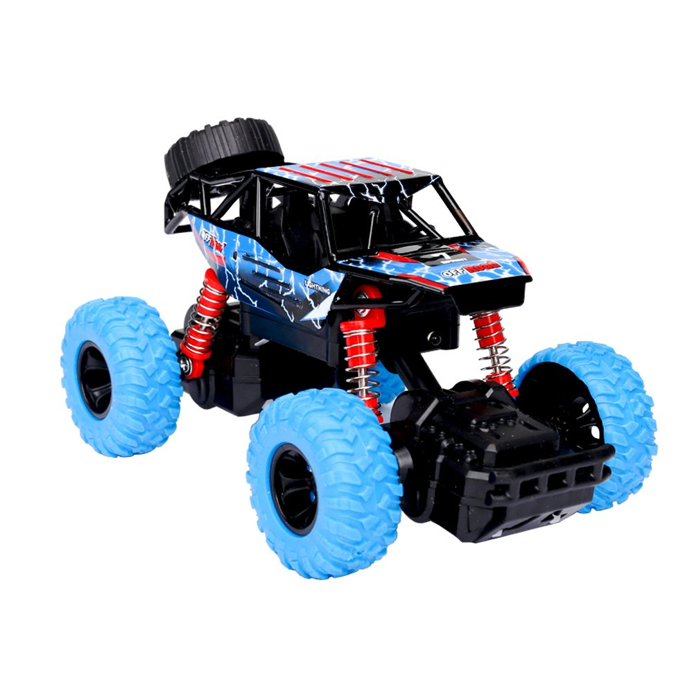 Think Wing 4WD Pull Back Monster Trucks with Music & Light High Speed Die-cast Buggy Functions Toy Cars 4 Styles Collectable Off-Road Car Gift For Kids 1:32 Scale (Style 1(Blue))