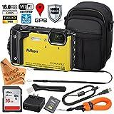 Nikon Coolpix AW130 ULTIMATE PRO BUNDLE Shock & Waterproof GPS Digital Camera (Yellow - VNA842E1 / 26494) + Free Super Savings Exclusive Microfiber Cloth