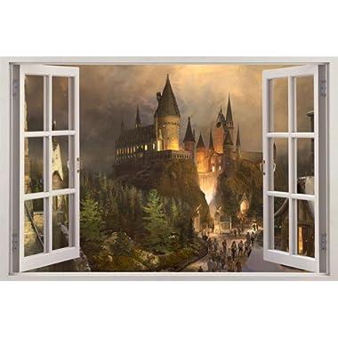 Hogwarts Harry Potter 3D Window View Decal Graphic Wall Sticker Art Mural H322, Huge