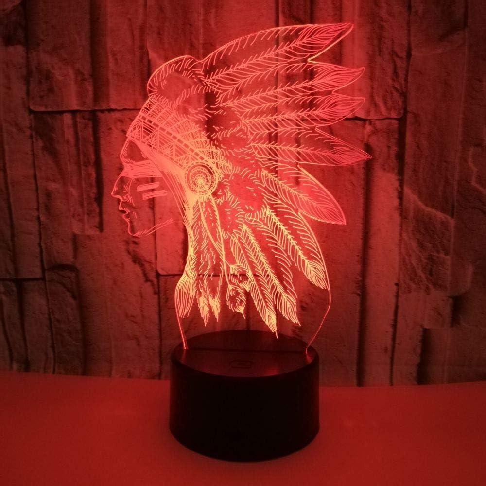 3d Jefe tribal óptica Illusions lámpara, la 7 Cambio de color de escritorio Luz nocturna con cable USB para regalos navideños y luces de juguete para niños