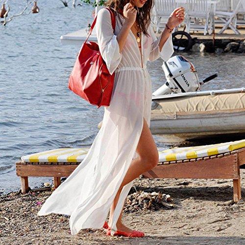 Y&L Donne Abito Spiaggia Bianca Manica Lunga Tunica Bikini Cover Ups Parei