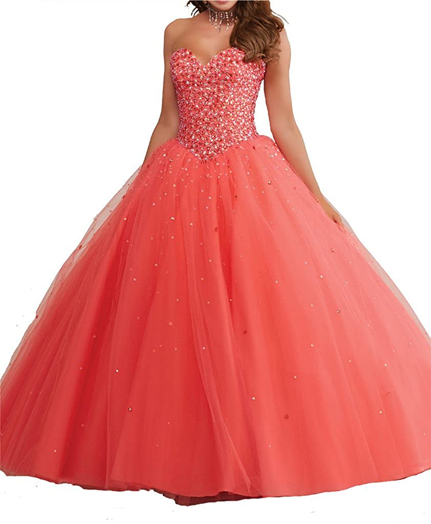 Coral Yang Women's Sweetheart Full Beaded Tulle Evening Gowns Girls 15 16 Quinceanera Dresses