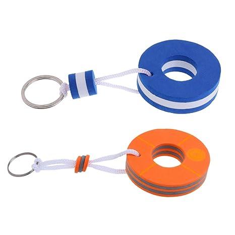 Sharplace Llavero Flotante Flotador Forma Boya de Vida Color Azul Naranja - 2 Pedazos