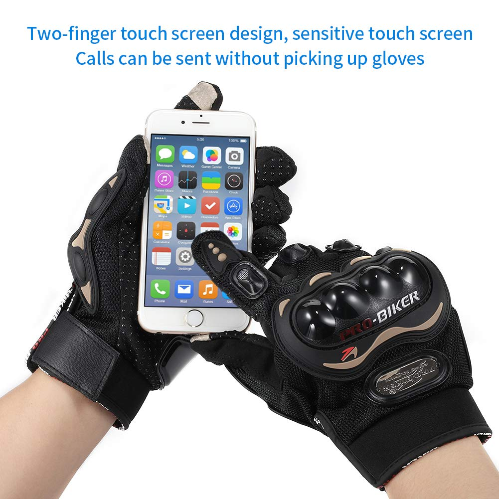 L DONGLIFENG Motor Gloves,Motorcycle Racing Full Finger Riding Gloves Waterproof Touchscreen Anti-Slip Mens Motorcycle Gloves Knuckle Protector
