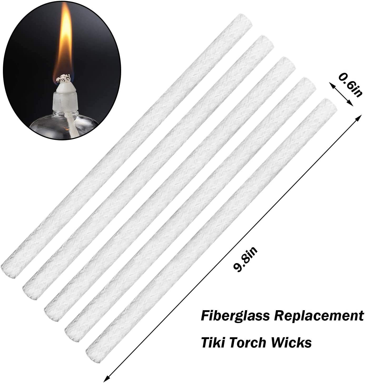 ZYP Fiberglass Replacement Wicks-9.85 Inch Long Life Torch Replacement Wick Oil Lamps Wicks for Indoor Outdoor Lighting Decor 15PCS
