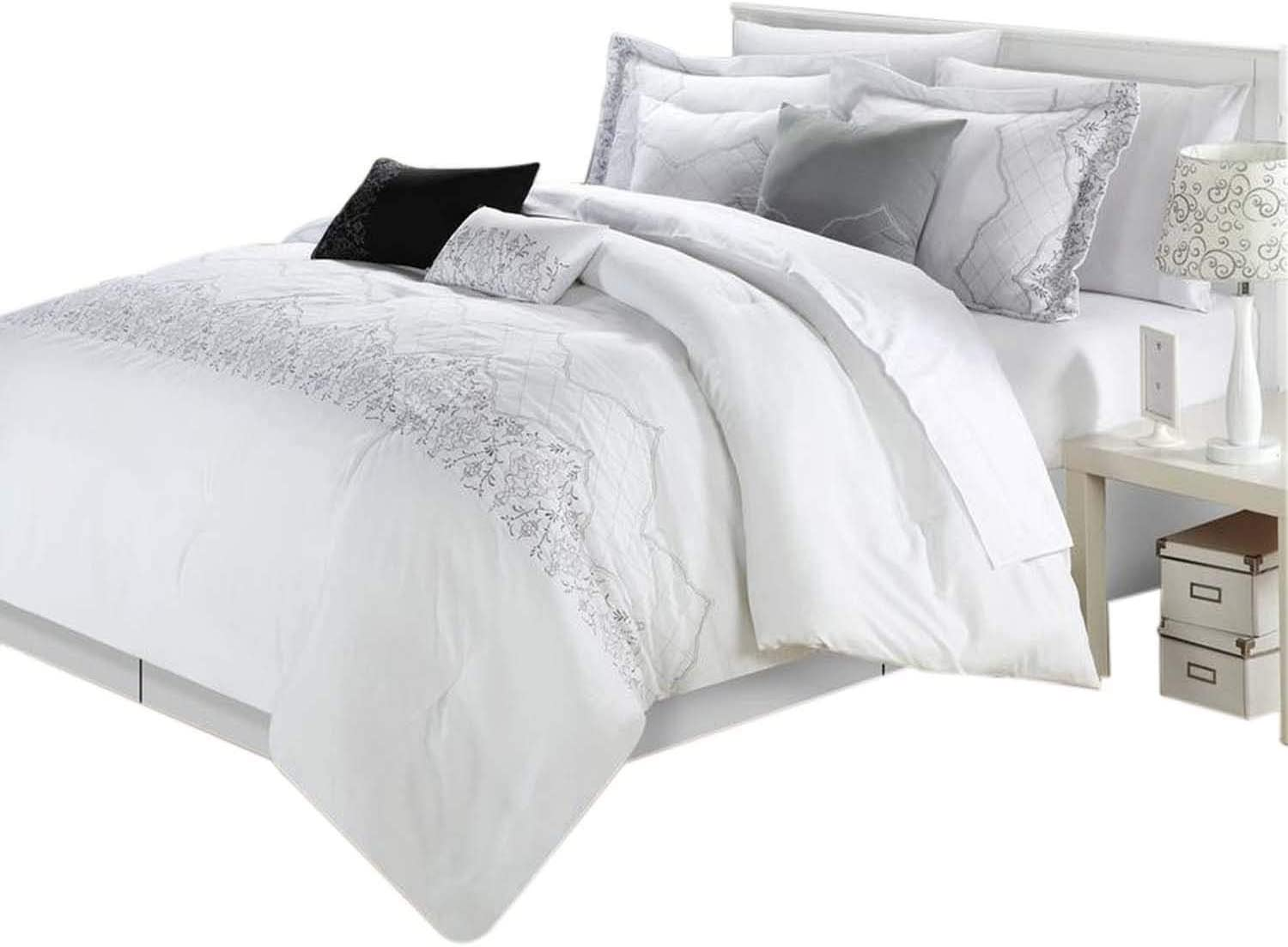 Chic Home Grace 8-Piece Comforter Set, King, White