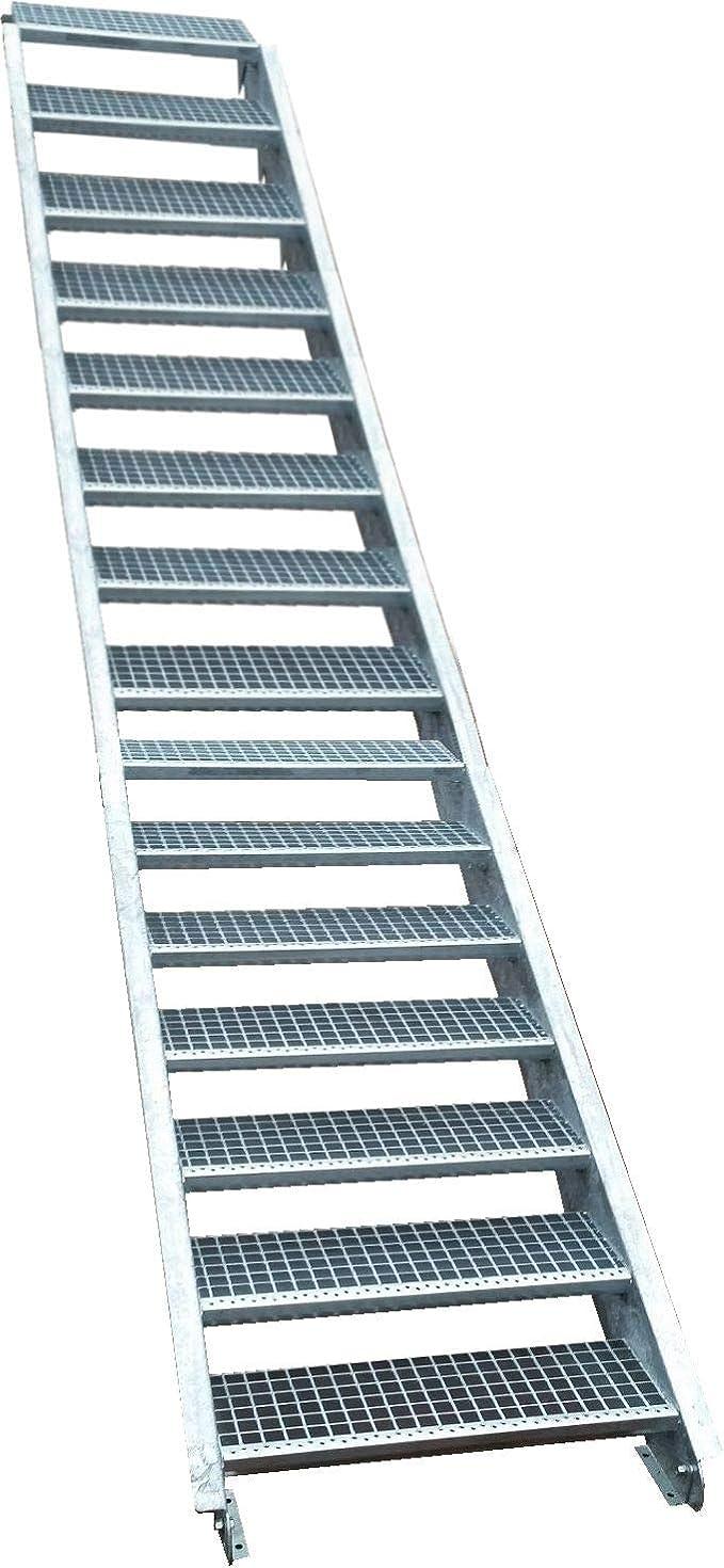 16 Escalera de acero Escaleras/Planta Nivel ancho 150 cm/Altura 274 – 340 cm/Incluye Extremos de escaleras de U de perfil + Rejilla de escaleras + Tornillos, Tuercas/mejilla Escaleras exterior Escalera industrial peldaños (: