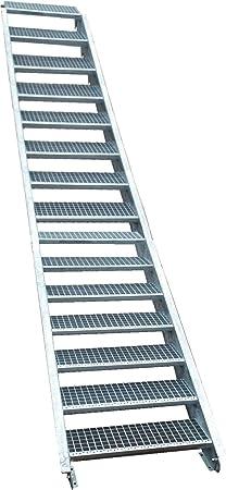 16 Escalera de acero Escaleras/Planta Nivel ancho 150 cm/Altura 274 – 340 cm/Incluye Extremos