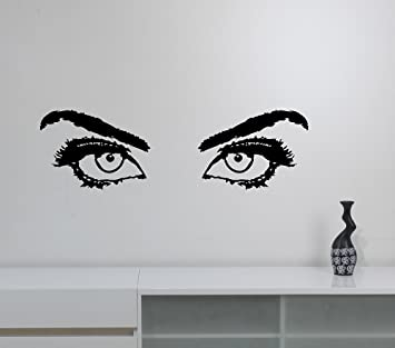 Woman Eyes Vinyl Decal Eyelashes Eyebrow Sticker Closeup Girl Look Art  Fashion Glamour Decorations For Home