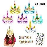 Vindyeer 12pcs Rainbow Unicorn Mask Kids Birthday Unicorn Party Favors with Extra Unicorn Temporary Tattoos