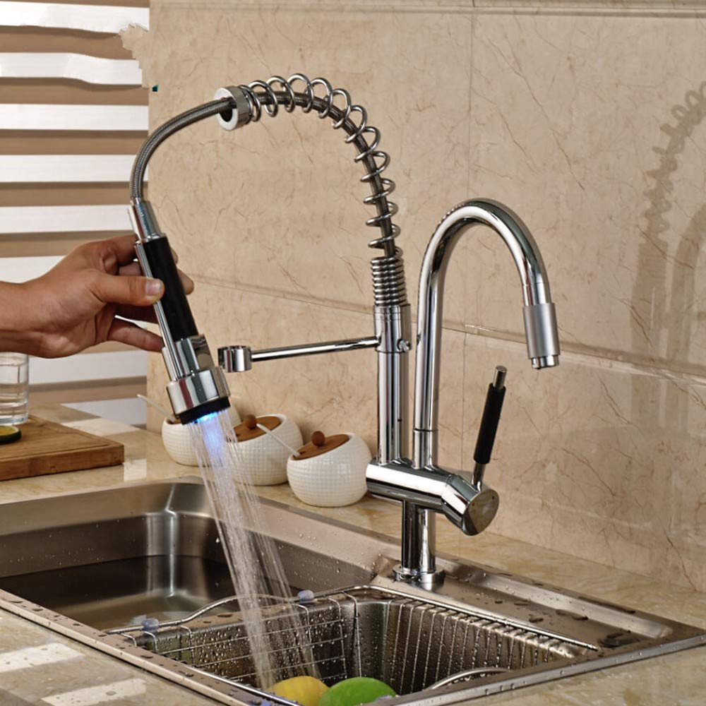 KUNHAN Kitchen Sink Faucet Tap Chrome One-Handed redating Kitchen Two Spout Kitchen Sink Faucet Tap Mixing Faucet With Led Lights