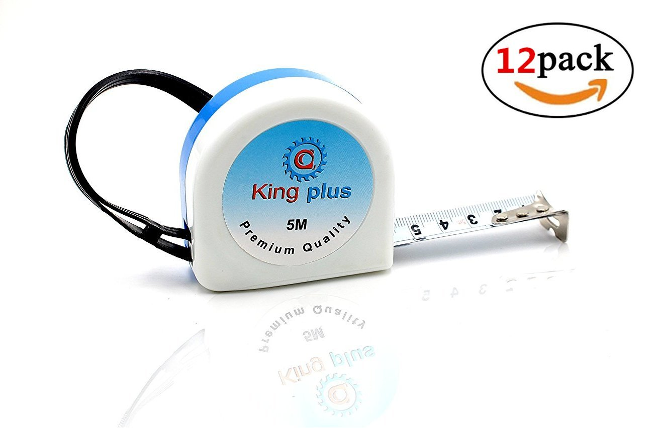 KingPlus Steel Measuring Tape 16-Foot(5m) Tape Ruler Metric and Inches Tape Measure Tool High Impact Resistant Covered Case, Wrist Strap for Construction, Home, Carpentry Measurement(12-Pack)